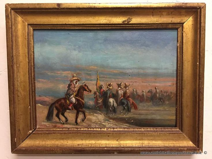 Oggettistica d`epoca - Stampe e dipinti Antico dipinto ad olio orientalista - Antico olio francese su tavoletta Immagine n°1