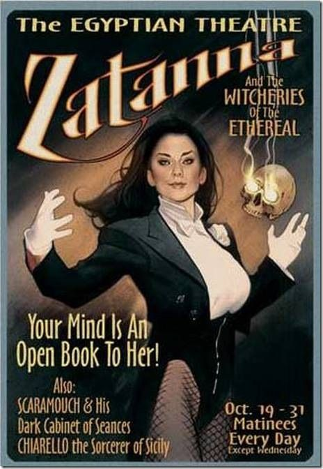 This is not a real ad for the lovely magician Zatanna and her act - tub I nac maerd! (Just asking: When her father Zatara is irregular, does he take Serutan?)