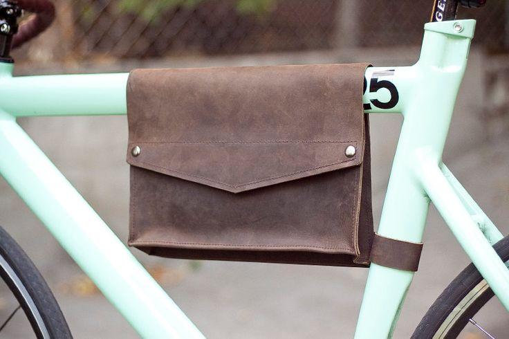 Leather Bike Frame Bag - Chocolate Brown. $80.00, via Etsy.