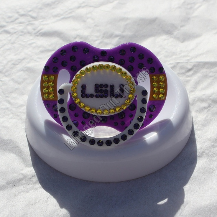 LSU COLLEGE FOOTBALL Bling Baby Pacifier w/Swarovski Crystals