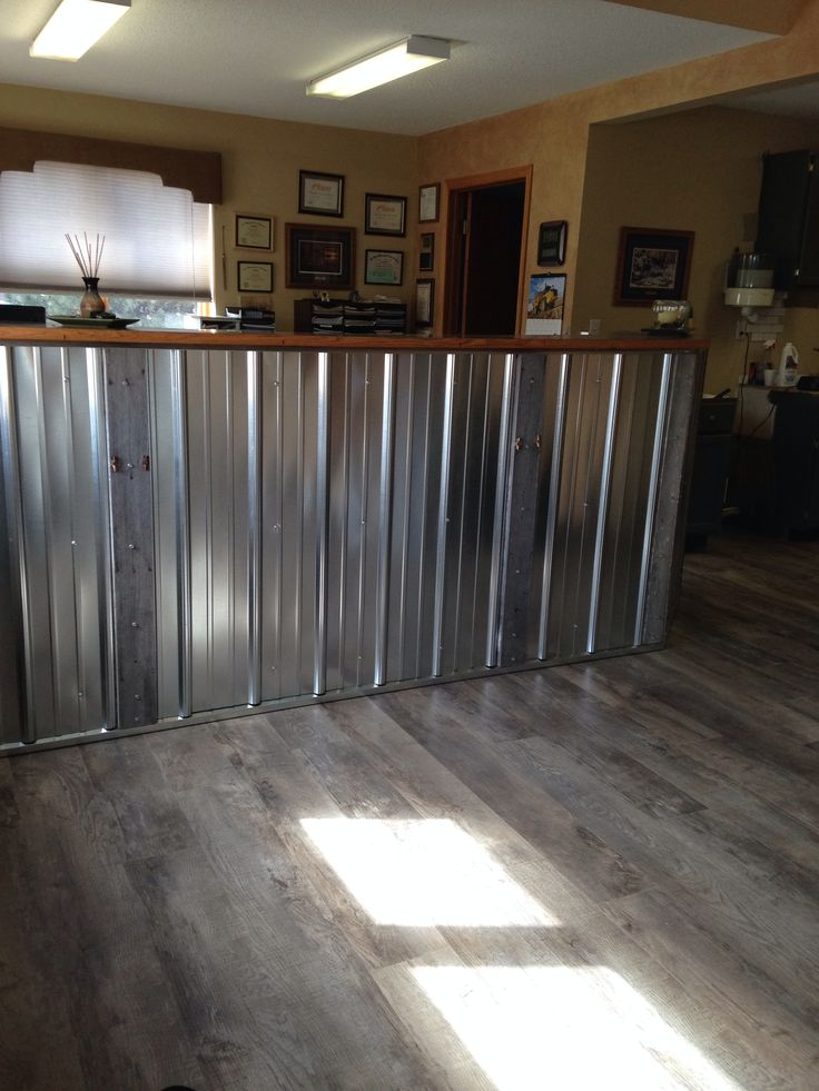 Barnwood And Galvanized Steel Reception Desk Small