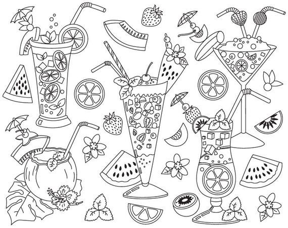 Coctails Clipart Vector Cocktails Clipart Cocktail Clipart Etsy In 2021 Clip Art Pattern Coloring Pages Cute Coloring Pages
