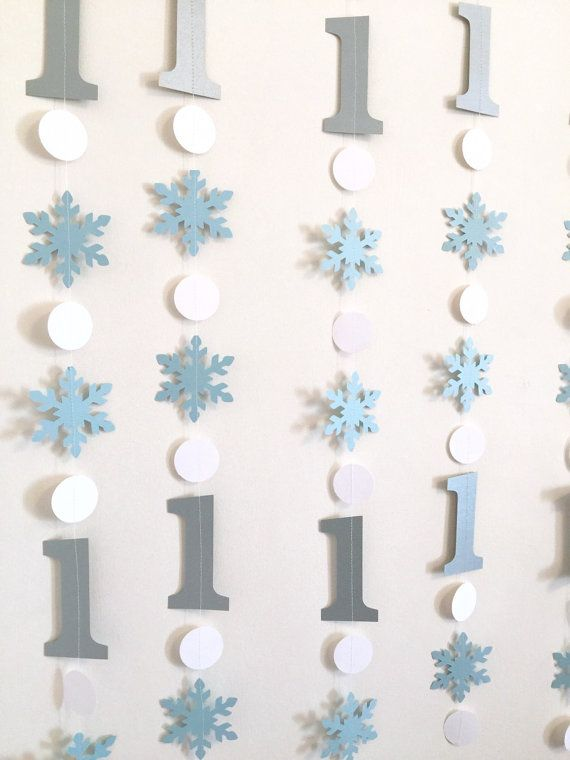 Blue and Silver Winter Birthday Decorations - Onederland Decor - 1st 2nd 3rd…