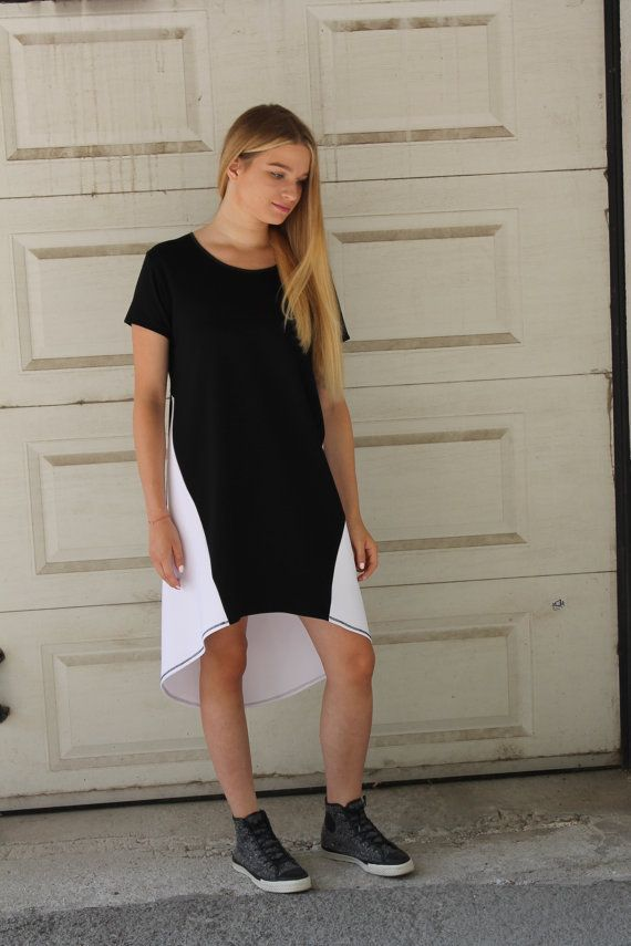 High low dress / black and white mini dress / by SilviaMonetti