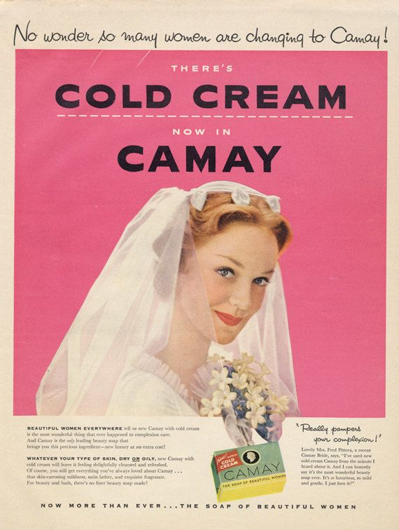 1954 Camay Soap Ad Bride Beautiful Woman Photo Mid Century Ephemera Vintage Beauty Advertisement Print Pink Bathroom / Vanity Wall Art Decor