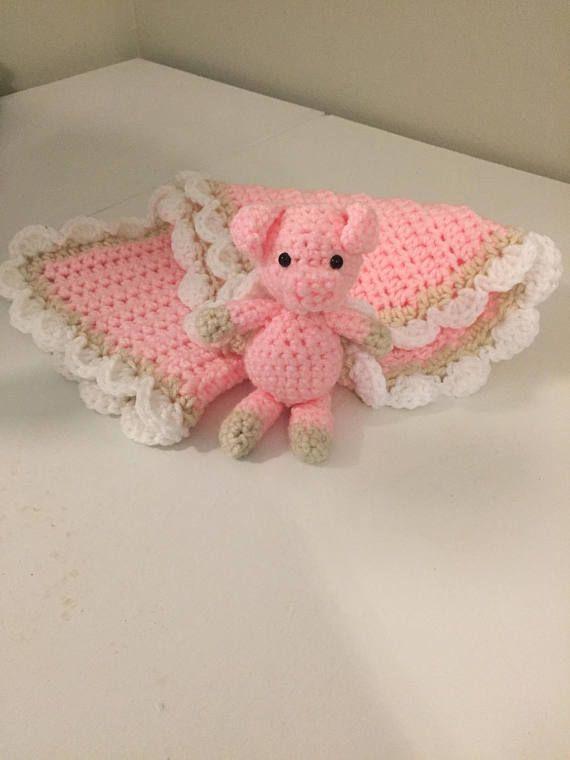 crochet baby blanket, pig blanket, pig crochet, pig, piggy, lovey blanket, security blanket,  baby shower gift, stuffed animal, pig crochet