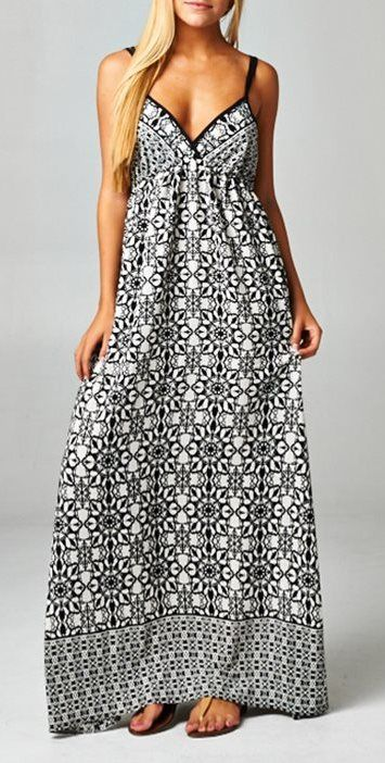 Beachy Black & White Boho Maxi Dress