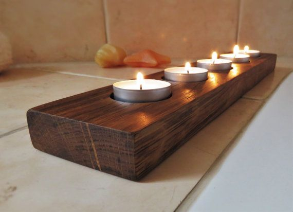 Handmade Rustic Tealight Holder Wooden Candleholder by WoodAllGood