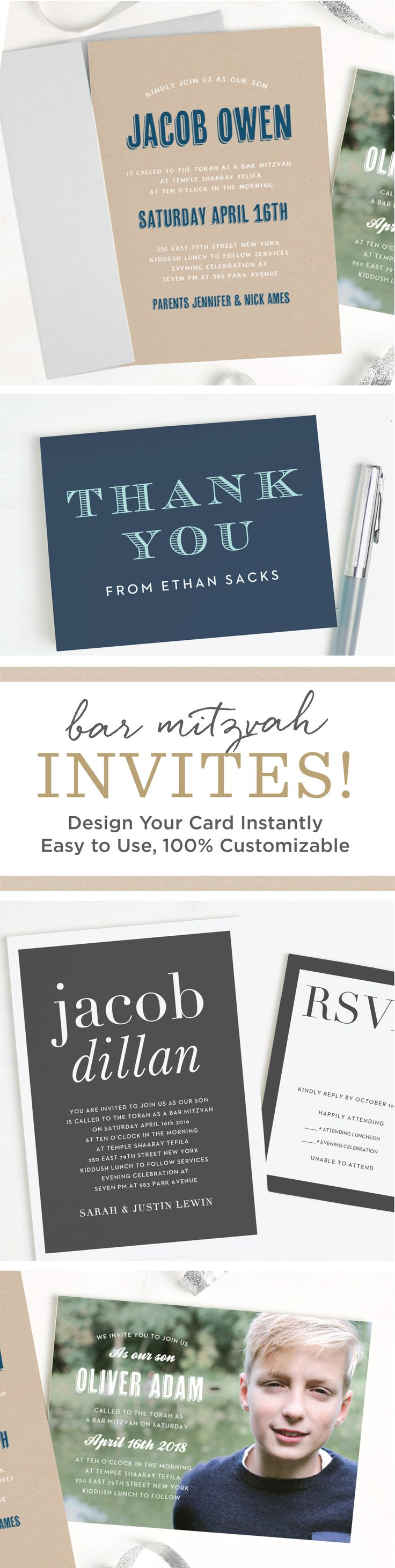 Instantly design personal and quality Bar Mitzvah invitations online with real-time previews of every change. Choose from our wide selection of themes, colors and fonts to show off your sons individual style and personality.