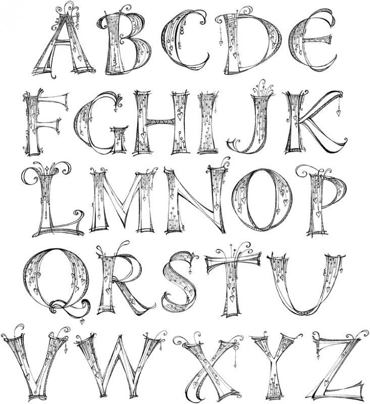 Alfabeto Zentangle Jpg 733 800ピクセル ハンドレタリングフォント アルファベットのデザイン レタリング