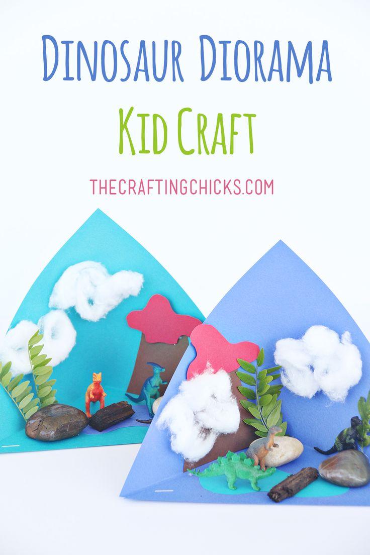 Dinosaur Diorama Kid Craft for Summer fun learning. Dinosaur fun at home or school inspired by Dino Dana. Fun dinosaur craft for the classroom during dinosaur week. #ad