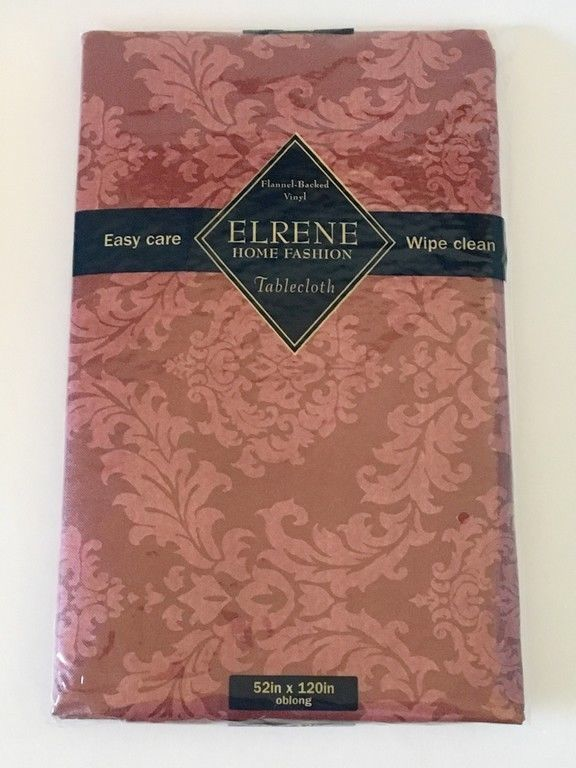 "ELRENE FLANNEL-BACKED VINYL TABLECLOTH Cranberry 52""x120"" OBLONG SEATS 10-12 #Elrene"