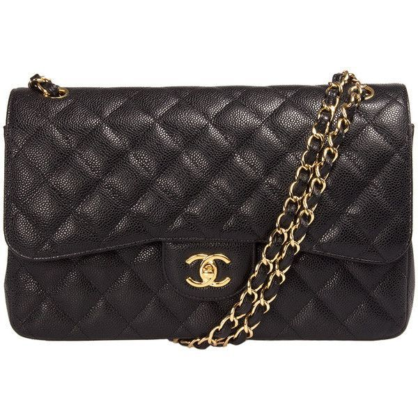 Chanel Classic Double Flap Bag Caviar Calfskin Leather (£3,150) ❤ liked on Polyvore featuring bags, handbags, black, chanel, flap handbags, hardware bag, calfskin purse, black bag and round handbag
