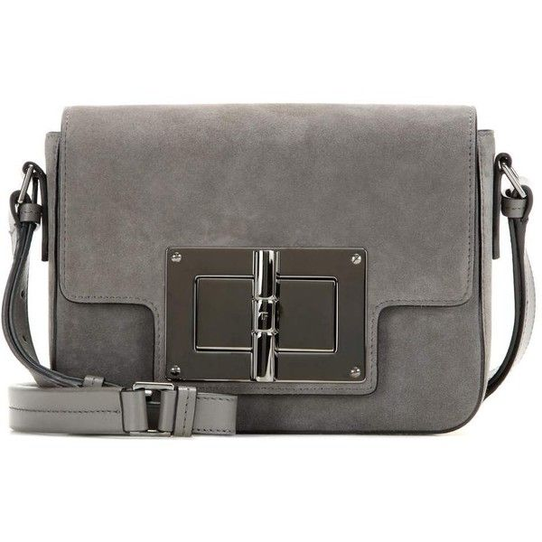 Tom Ford New Natalia Medium Suede Shoulder Bag ($2,695) ❤ liked on Polyvore featuring bags, handbags, shoulder bags, grey, grey suede purse, tom ford, suede leather handbags, tom ford purse and grey handbags