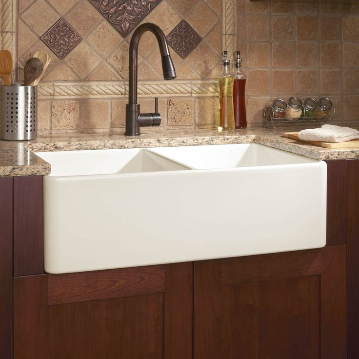 "farmhouse sink | 33"" Reinhard Double-Bowl Fireclay Farmhouse Sink - Biscuit"