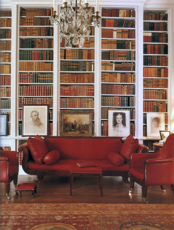 Library Althorp House. Love the red-toned leather.