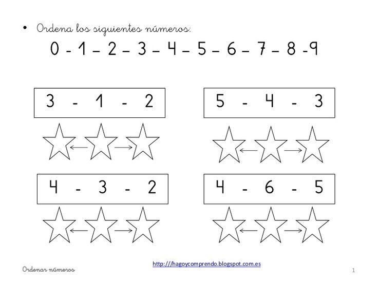 Fichas ordenar números.   http://www.slideshare.net/eilinc1978/ordenar-nmeros-ei?ref=http://hagoycomprendo.blogspot.com.es/