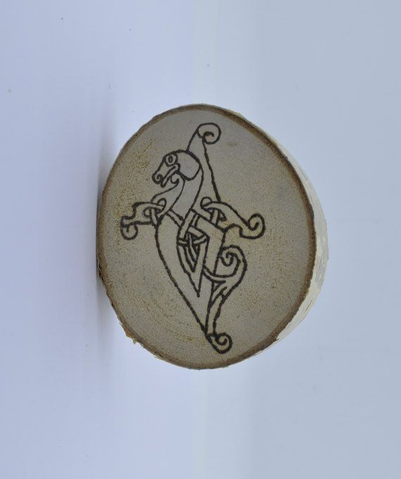 Wooden celtic coaster with a snake. For mug by ArchdeansMagicShop