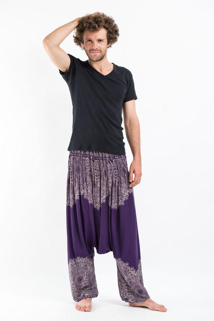 Floral Mandalas Low Cut Men's Harem Pants in Purple