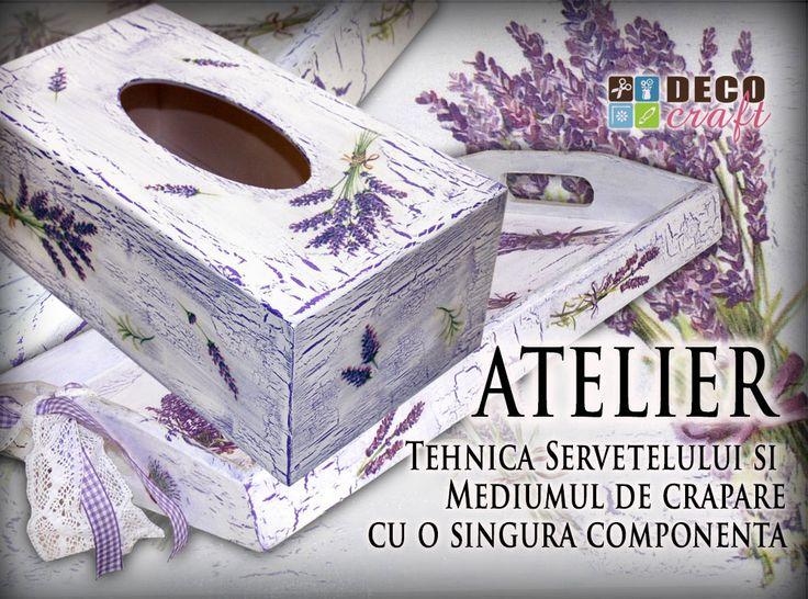 Atelier Tehnica servetelului si mediumul de crapare cu o componenta. #shabby, #vintage, #lavanda, #provance. http://www.decocraft.ro/ateliere-creativitate/