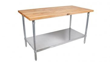 Kitchen: Maple Wood Top Stallion Work Table And Galvanized Legs With Adjustable Lower Shelf And Also Commercial Flat Top Work Table from Find Your Easier Kitchen Activities With Kitchen Prep Table