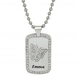 Stainless Steel Women's High Polished Butterfly Dog Tag Personalized Pendant - $60.00