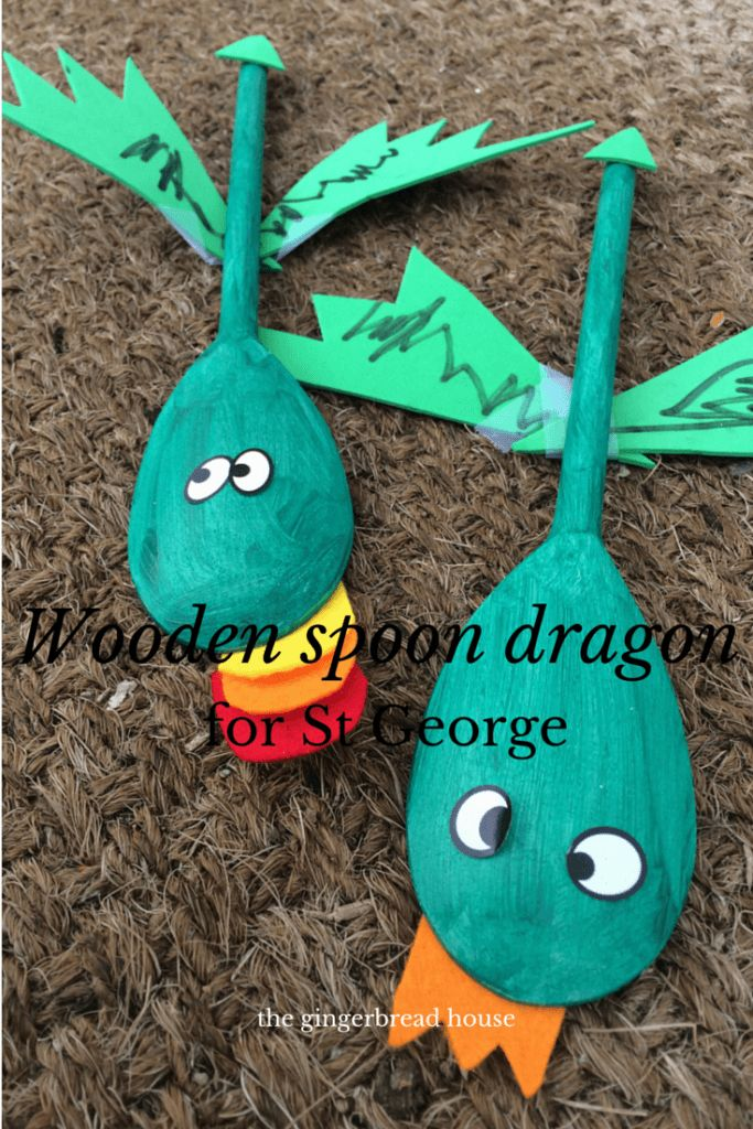 wooden spoon dragon craft for St Geroge's Day