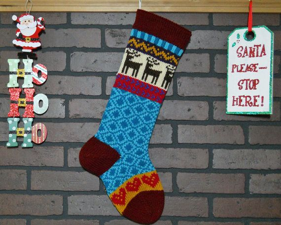 personalized christmas stocking hand knit in burgudy with reindeer and hearts colorful stocking fair isle knit housewarming wedding gift