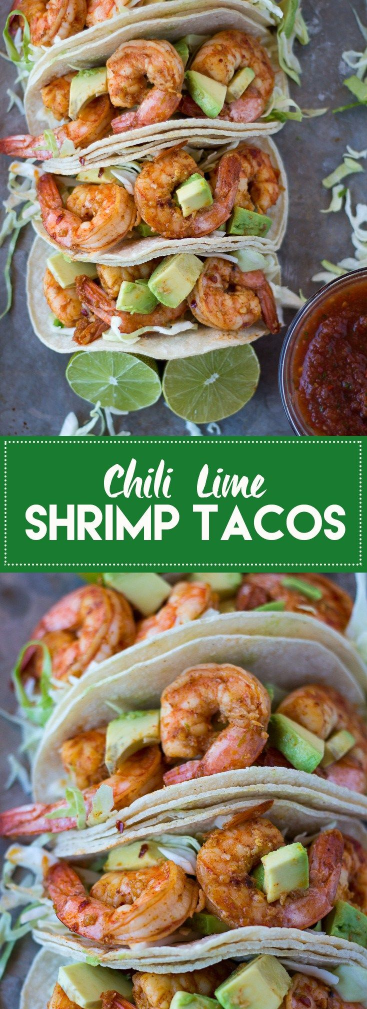 These chili lime shrimp tacos are super flavorful and take less than 30 minutes…
