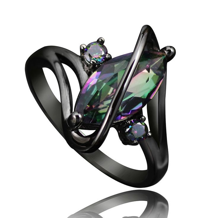 New Item Women's Mystic Rainbow Topaz Ring Black IP Setting Sizes 6, 7, 8, 9, 10 Couture Jewelry