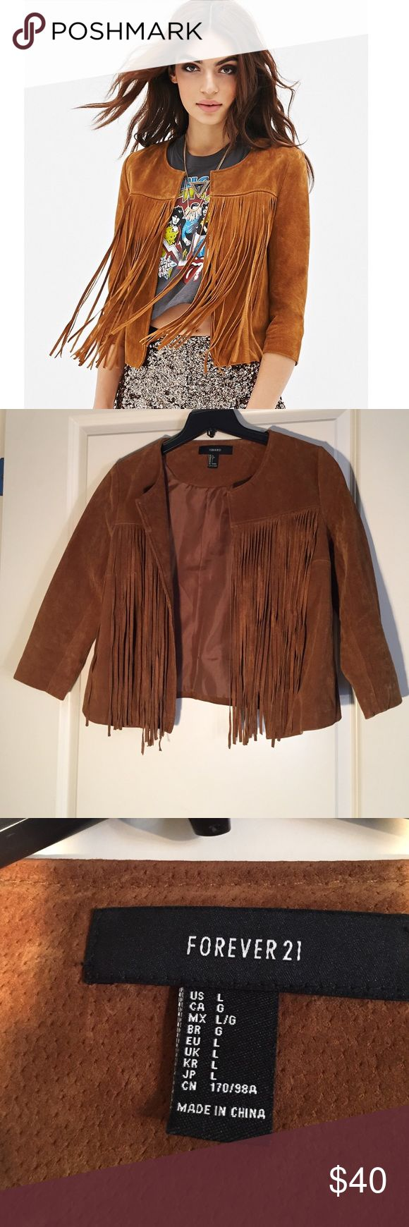 Forever 21 Brown Fringe Suede Jacket Beautiful pristine condition! Only worn ONCE gorgeous suede jacket with cute fringe detailing on the front. Im normally a medium but got a large because i wanted a little looser fit but would definitely fit a medium as well. Any questions please ask :-) Forever 21 Jackets & Coats