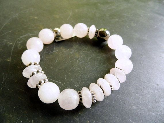 Bracelet, silver, beads, Rose Quartz, jewelry