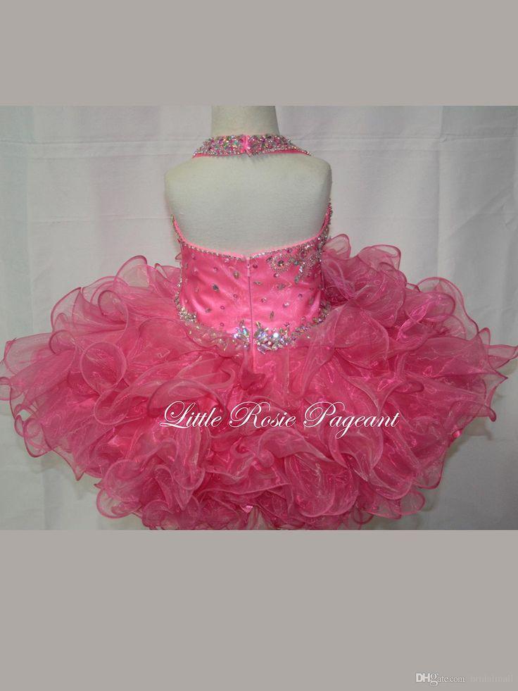 2015 El desfile superventas de las niñas viste los granos del cortocircuito del Organza de los granos del cortocircuito corto del Organza corto de los cabritos Vestidos de partido lindos del partido de las muchachas del Glitz lindo rosado
