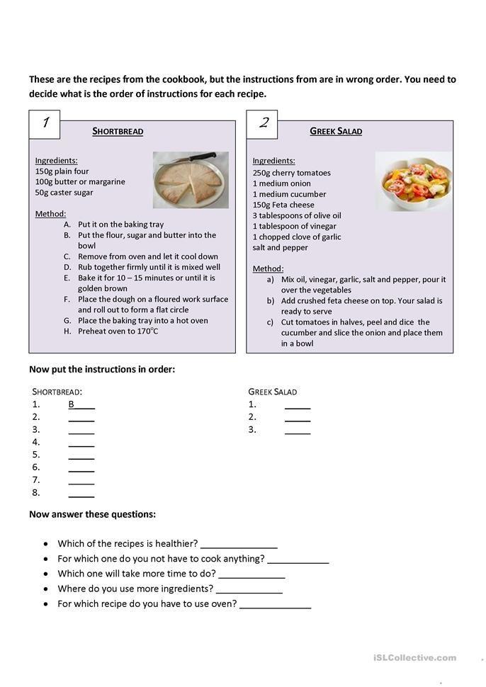 Recipes Comparision Reading Comprehension Worksheets Comprehension Worksheets Math Addition Worksheets