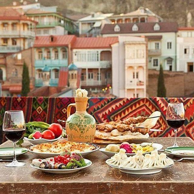 A Georgian meal, overlooking the Old Town district of Tbilisi.