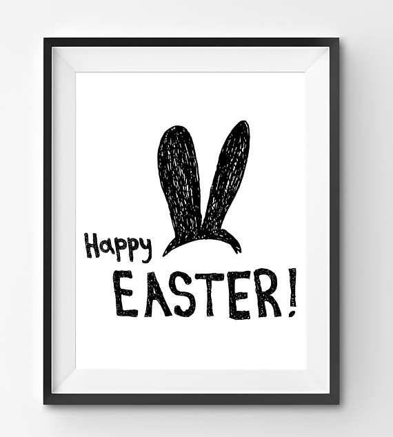 Happy Easter Print with Funny Bunny Ears Happy Easter