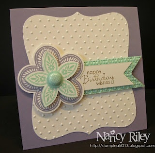 Very CuteEmbossing Cards, Cards Ideas, Cas Triple, Diy Gift, Happy Birthday Cards, Treats Flower, Nancy Riley, Triple Treats, Stampin Up Cards