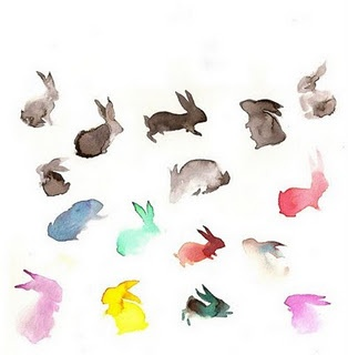 Watercolor bunnies. I want something like this in memory of my great-grandmother, but as a squirrel.
