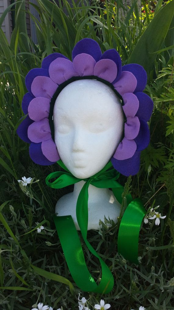 Flower Headpiece - Purple Felt - Flower Costume - Flower Crown -Alice in Wonderland - Flower Fairy
