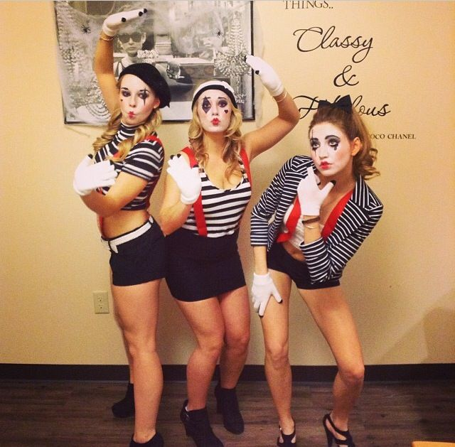 Group Fancy Dress Ideas For Hen Party: #halloween #mime #collegegirls #costume #group Costume