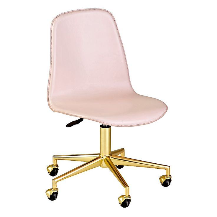 Shop Pink/Gold Class Act Desk Chair.  Here's a smart idea.  Our leather desk chair has rolling wheels and a padded, adjustable seat that swivels 360 degrees.
