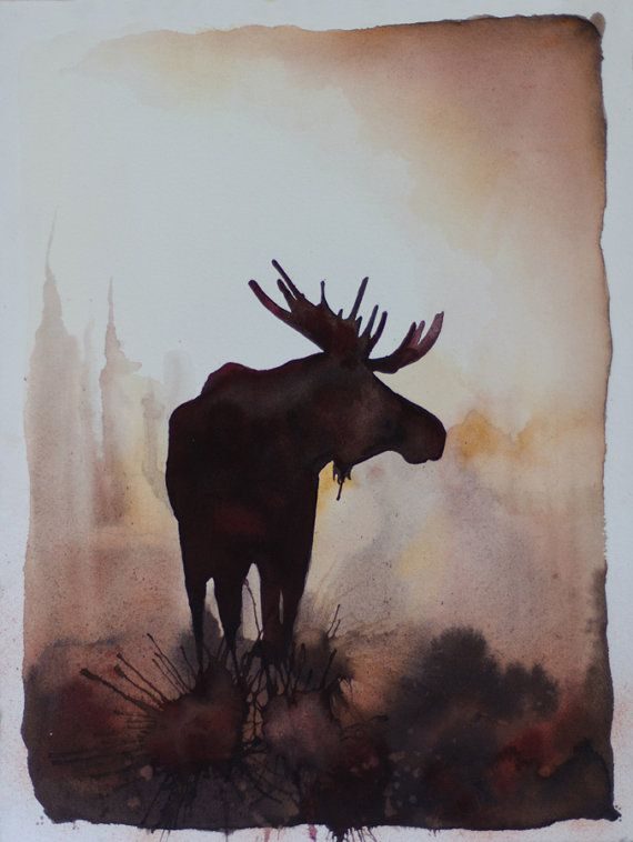 The Moose Silhouette Limited Edition 8x10 by graybearstudio, $60.00