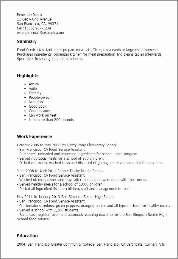 23 Food Service Resume Examples In 2020 Resume Skills Job