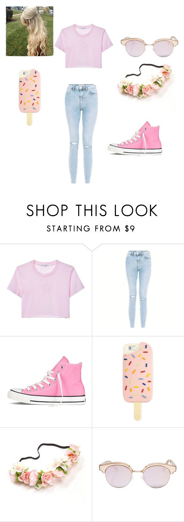 """""""bubblegum pink"""" by justsometeenagerfromyesterday on Polyvore featuring Converse, Tory Burch and Le Specs"""