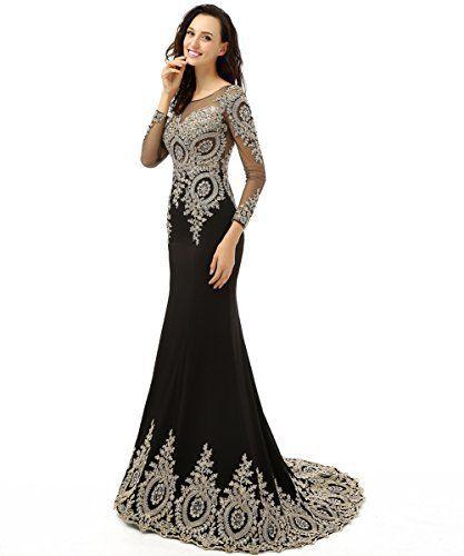 King's Love Women's Rhinestone Long Sleeve Mermaid Evening Dress