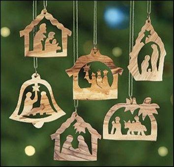 Amazon.com: Set of 6! Olive Wood Holy Family Wise Men Nativity Manger Scene Christmas Tree Ornament Home Decoration: Home & Kitchen