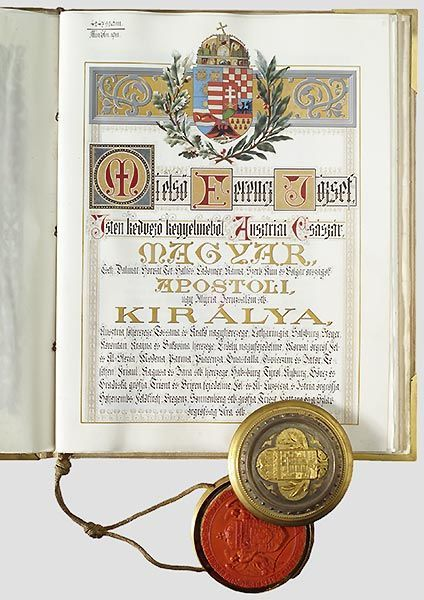 Hungarian Grant of Nobility and of Arms to Antalt Kiss, 22 March 1912.