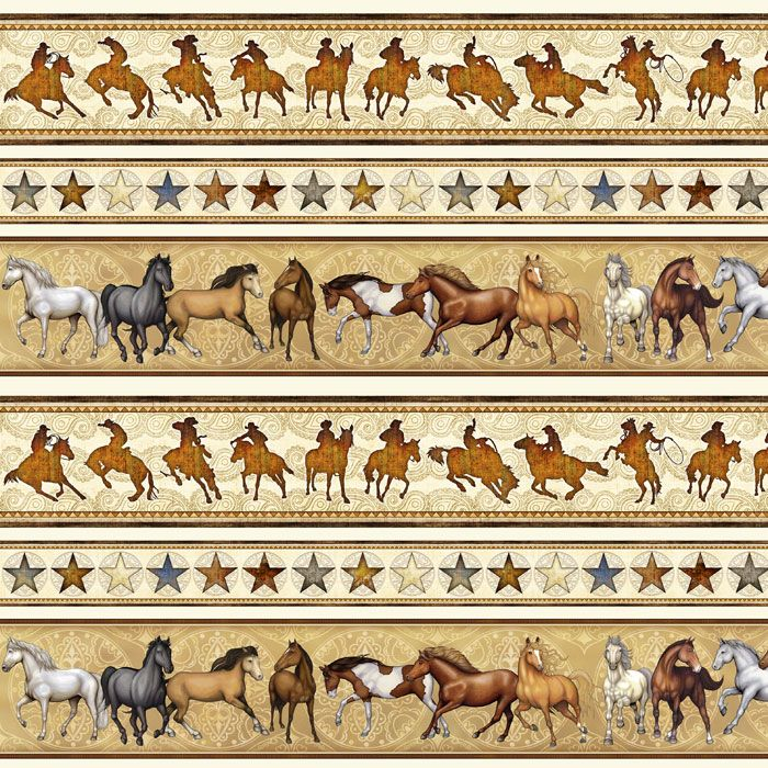 Mustang Sunset cotton quilt fabric Quilting Treasures Horses on Blue