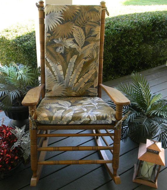 Indoor / Outdoor Rocking Chair 2 PC Foam Cushion Set - Fits Cracker Barrel Rocker - Tommy Bahama Tan Blue Green Tropical Palm Leaf Fabric by PillowsCushionsOhMy, $79.96