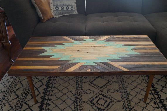 Turquoise Navajo Aztec Native BOHO Southwestern Mid-Century Coffee Table